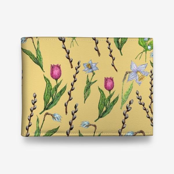 Кошелек «Узор с весенними цветами на желтом фоне»