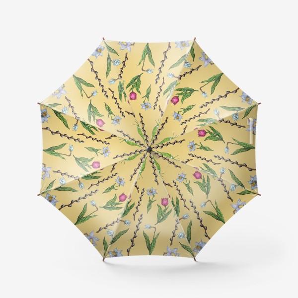 Зонт «Узор с весенними цветами на желтом фоне»