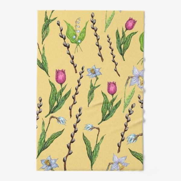 Полотенце «Узор с весенними цветами на желтом фоне»