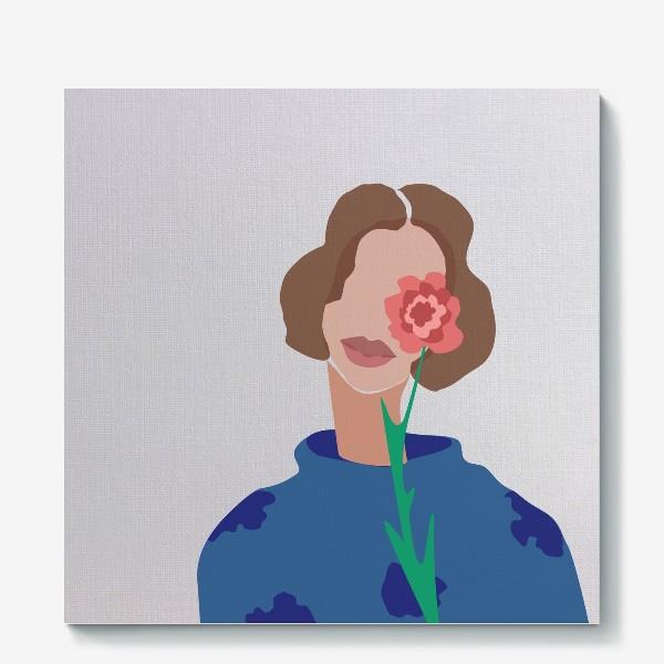 Холст «Весенний образ. Девушка с цветком. 8 марта.»