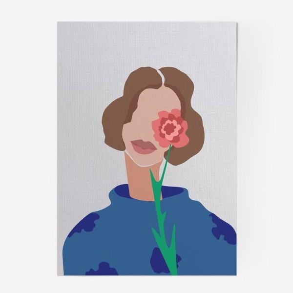 Постер «Весенний образ. Девушка с цветком. 8 марта.»