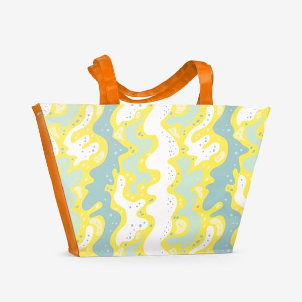 Пляжная сумка «Абстракция, волны»