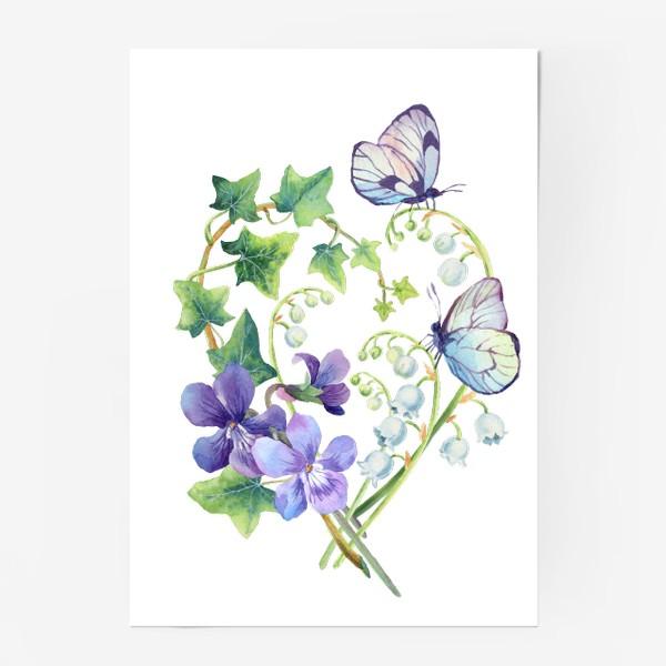 Постер «Сердце с ландышами и бабочками»