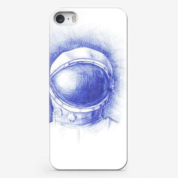 Чехол iPhone «Космонавт графика синяя ручка»