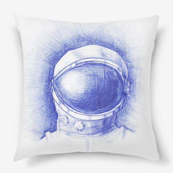 Подушка «Космонавт графика синяя ручка»