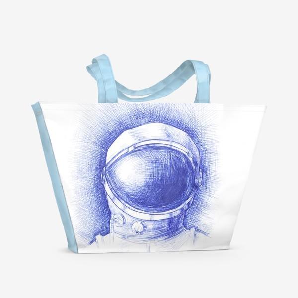 Пляжная сумка «Космонавт графика синяя ручка»