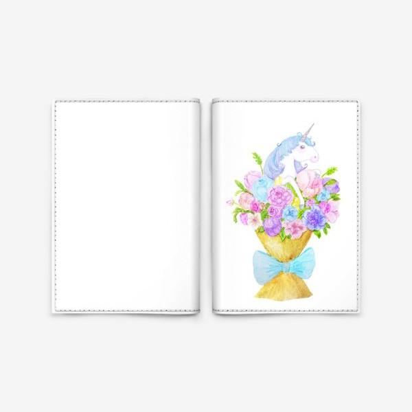 Обложка для паспорта «Единорог в букете»