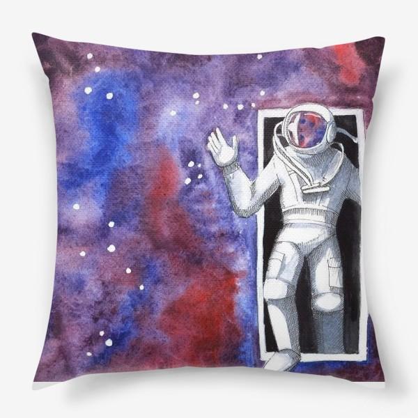 Подушка «Дверь в космос. Космонавт. Звездное небо. Созвездия. Акварель. »