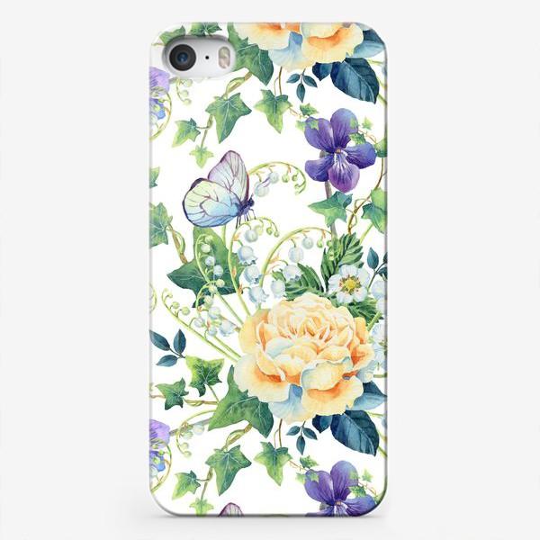 Чехол iPhone «паттерн с розами, плющом и фиалками»