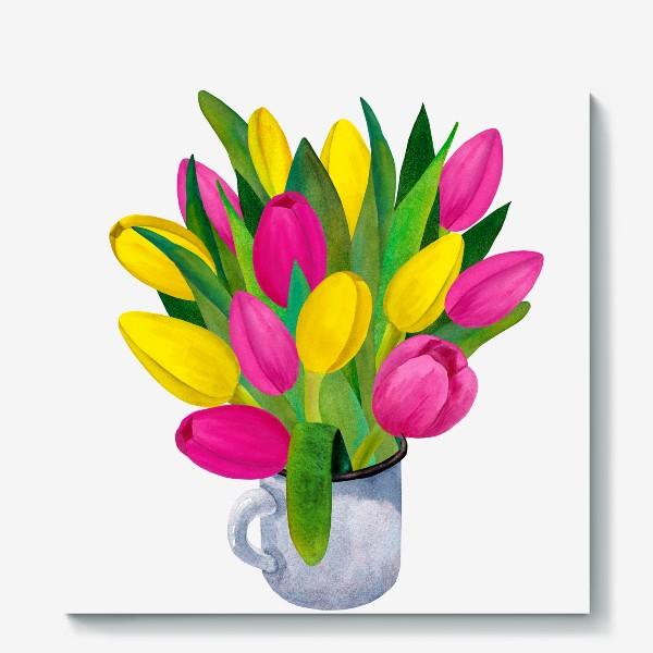 Холст «Яркие тюльпаны в металлической кружке»