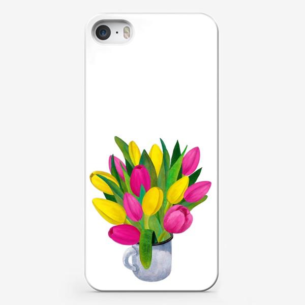 Чехол iPhone «Яркие тюльпаны в металлической кружке»