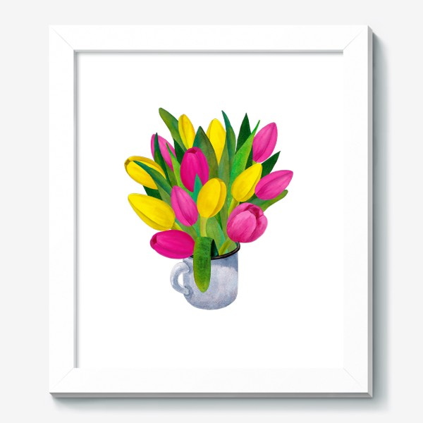 Картина «Яркие тюльпаны в металлической кружке»