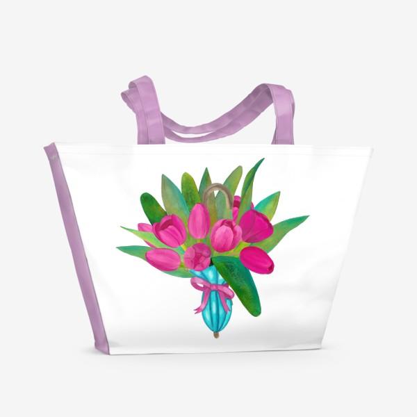 Пляжная сумка «Розовые тюльпаны в голубом зонтики - весенняя иллюстрация»