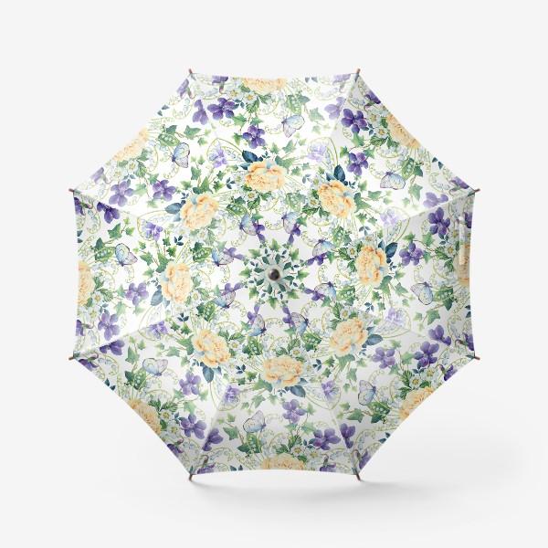Зонт «паттерн с розами, плющом и фиалками»