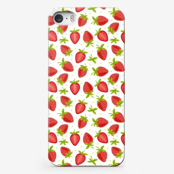 Чехол iPhone «Сочный клубничный паттерн»