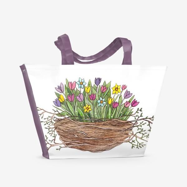 Пляжная сумка «Весенний букет»
