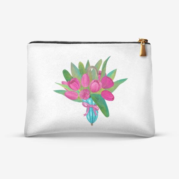 Косметичка «Розовые тюльпаны в голубом зонтики - весенняя иллюстрация»