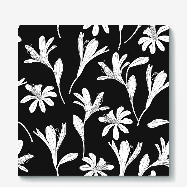 Холст «чёрно-белые цветы»