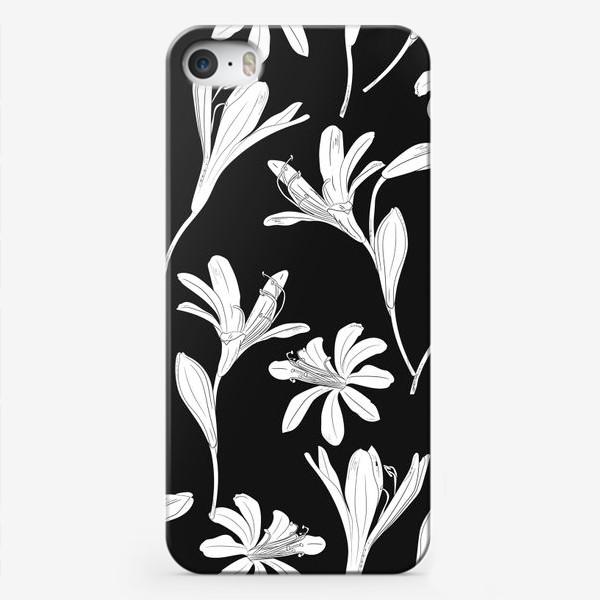 Чехол iPhone «чёрно-белые цветы»
