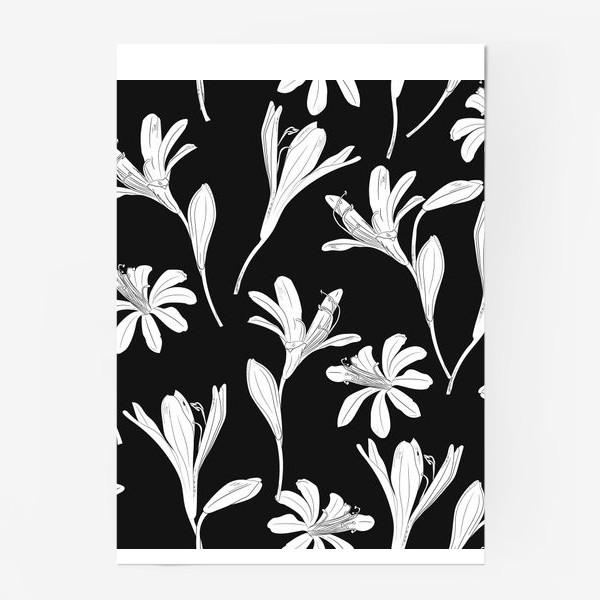 Постер «чёрно-белые цветы»