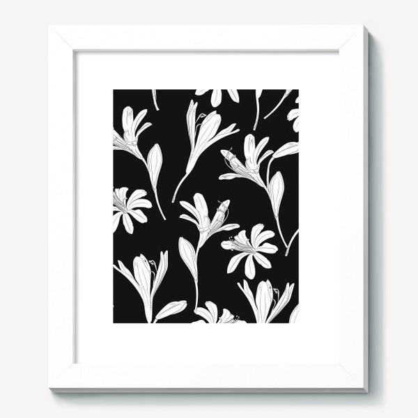 Картина «чёрно-белые цветы»