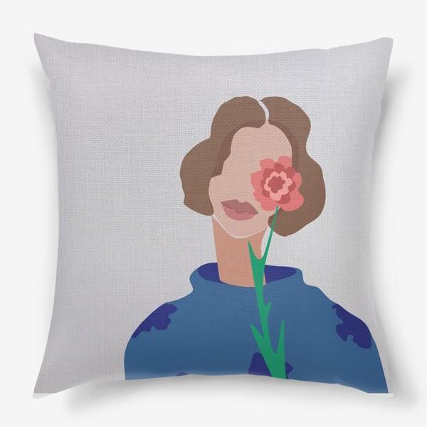 Подушка «Весенний образ. Девушка с цветком. 8 марта.»