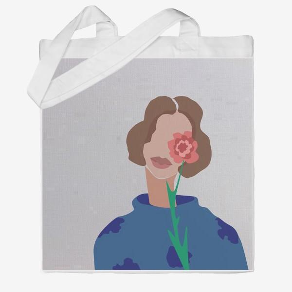 Сумка хб «Весенний образ. Девушка с цветком. 8 марта.»