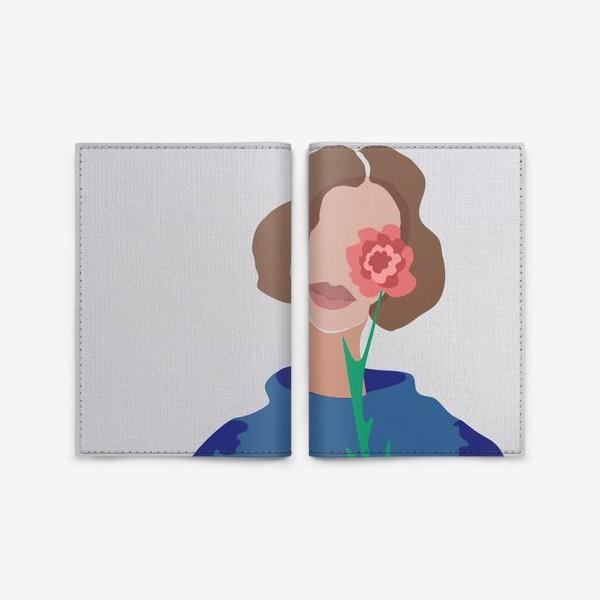 Обложка для паспорта «Весенний образ. Девушка с цветком. 8 марта.»