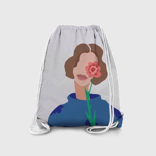 Рюкзак «Весенний образ. Девушка с цветком. 8 марта.»