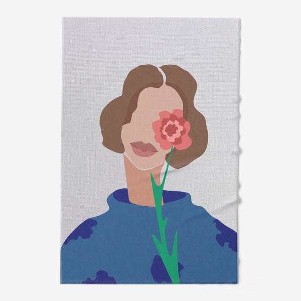 Полотенце «Весенний образ. Девушка с цветком. 8 марта.»