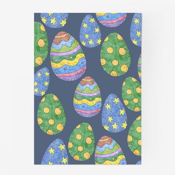 Постер «Узор с пасхальными яйцами на синем фоне»