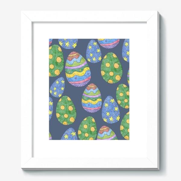Картина «Узор с пасхальными яйцами на синем фоне»
