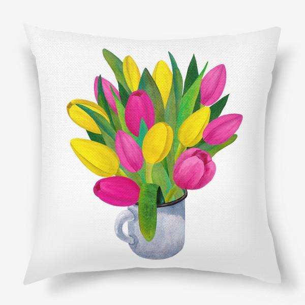 Подушка «Яркие тюльпаны в металлической кружке»