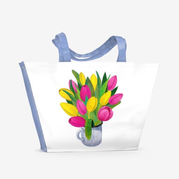 Пляжная сумка «Яркие тюльпаны в металлической кружке»