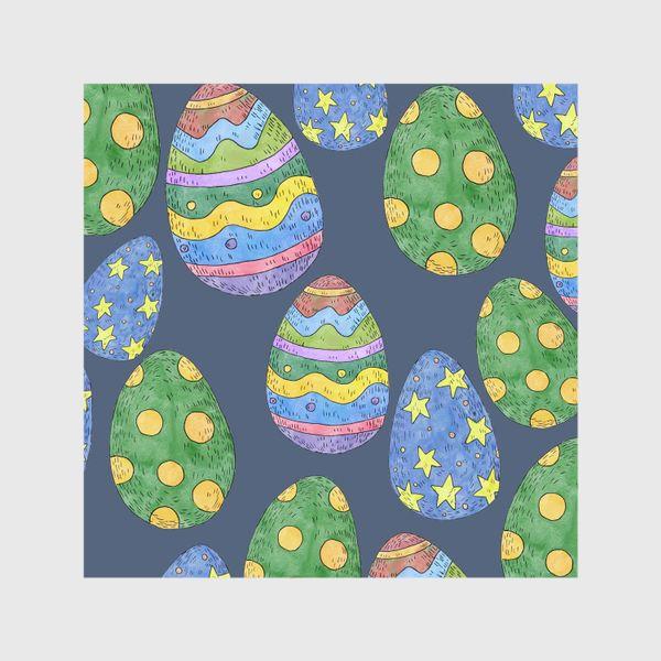 Шторы «Узор с пасхальными яйцами на синем фоне»