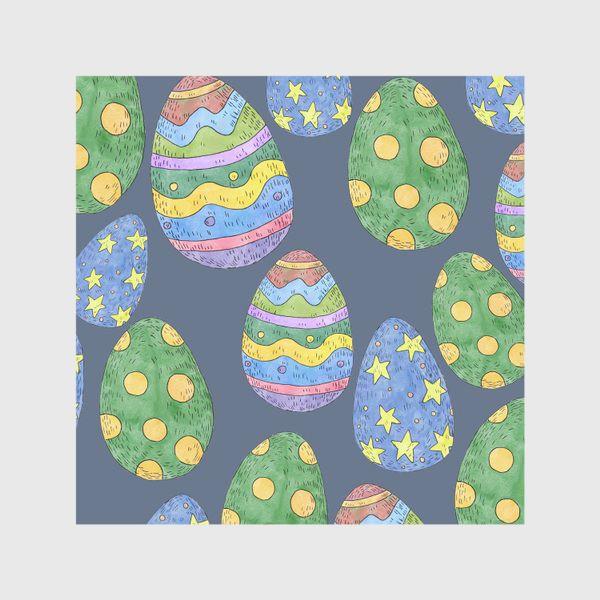Скатерть «Узор с пасхальными яйцами на синем фоне»