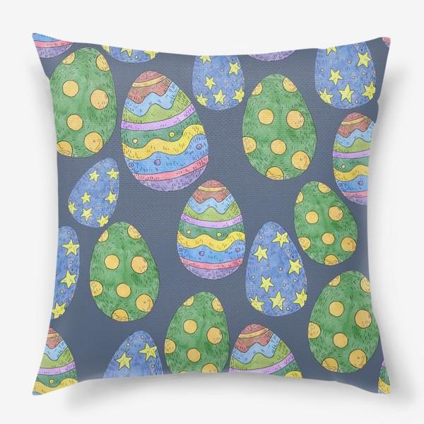 Подушка «Узор с пасхальными яйцами на синем фоне»