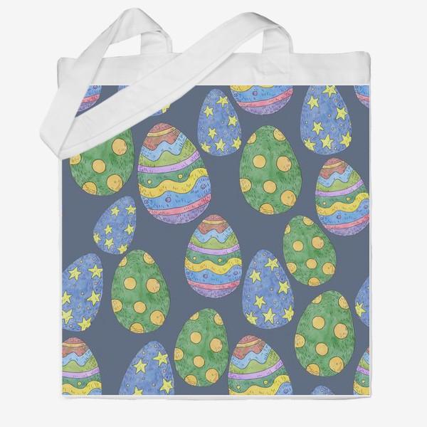 Сумка хб «Узор с пасхальными яйцами на синем фоне»