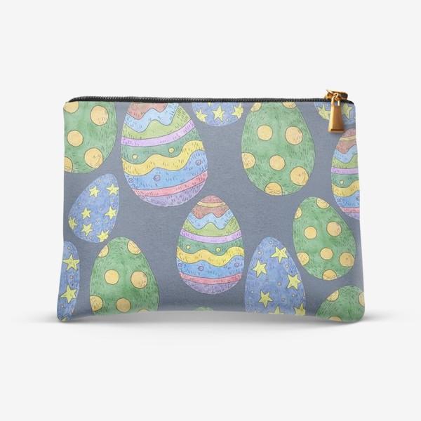 Косметичка «Узор с пасхальными яйцами на синем фоне»