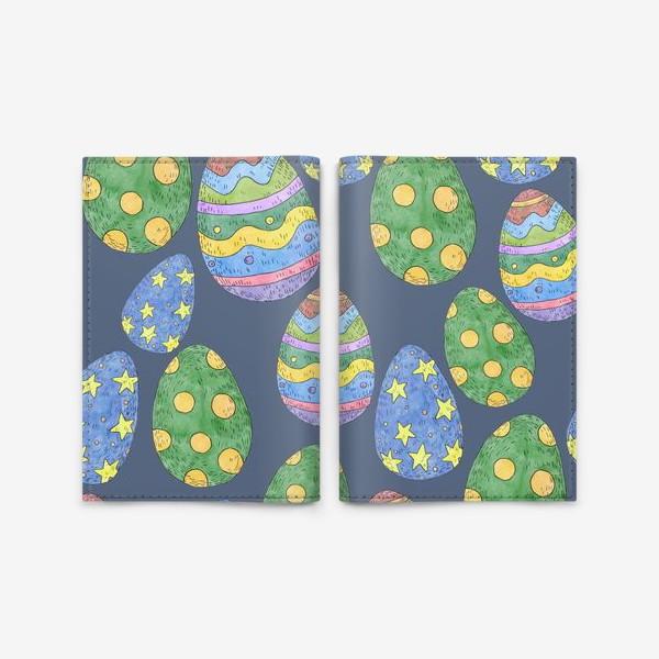 Обложка для паспорта «Узор с пасхальными яйцами на синем фоне»