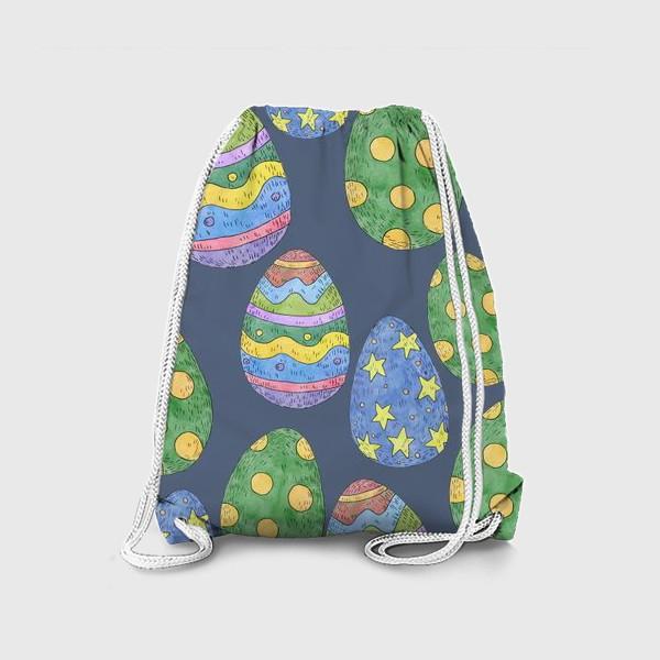 Рюкзак «Узор с пасхальными яйцами на синем фоне»