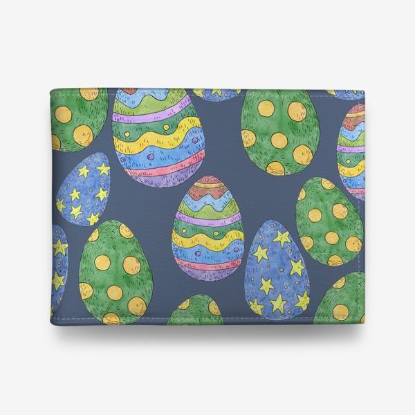 Кошелек «Узор с пасхальными яйцами на синем фоне»
