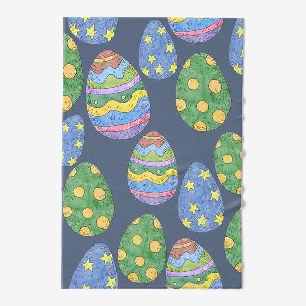Полотенце «Узор с пасхальными яйцами на синем фоне»