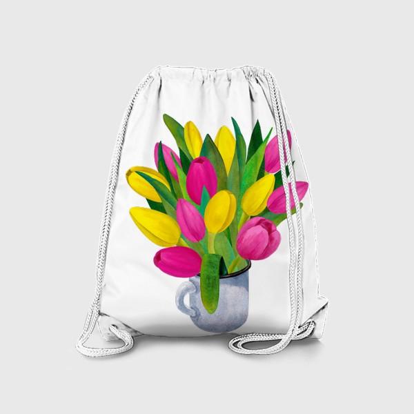 Рюкзак «Яркие тюльпаны в металлической кружке»