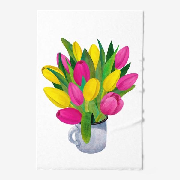 Полотенце «Яркие тюльпаны в металлической кружке»