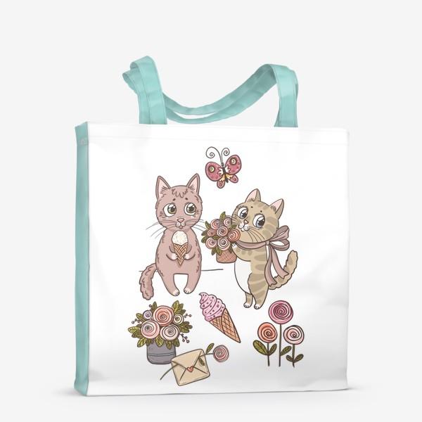 Сумка-шоппер «Котики. Цветочно-мороженковое настроение»