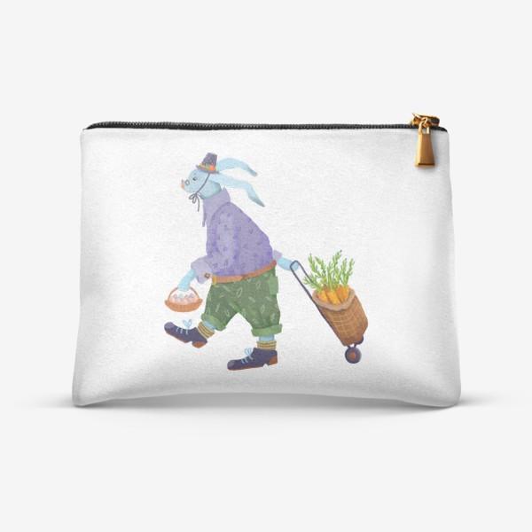 Косметичка «Кролик в шляпе и ботинках несет морковь и яйца»