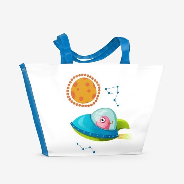 Пляжная сумка «нло и планета Марс»