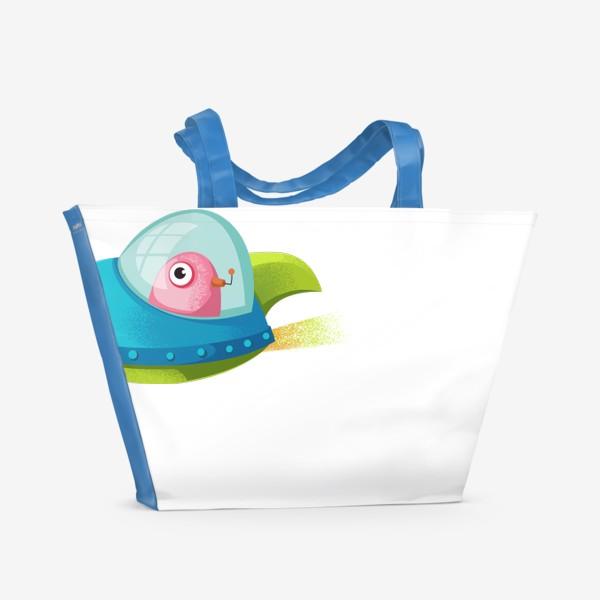Пляжная сумка «нло в ракете»