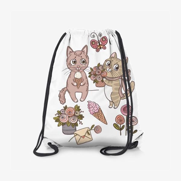 Рюкзак «Котики. Цветочно-мороженковое настроение»
